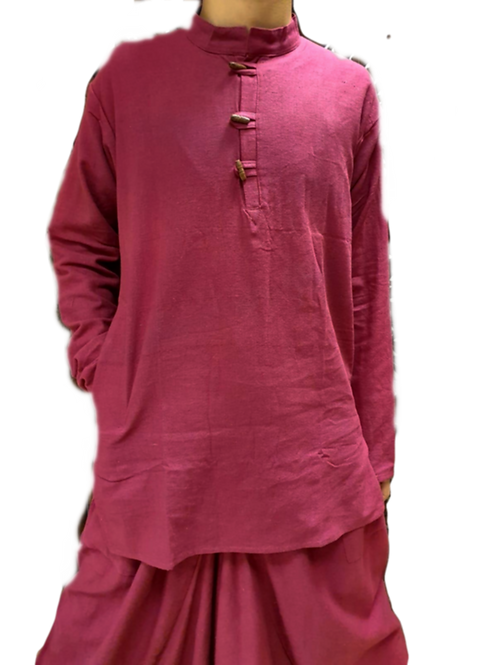 Comfy Burgundy Cotton Linen Kurta