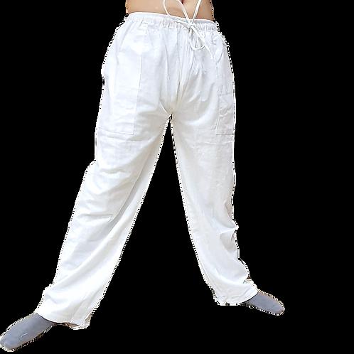 White Cotton Linen Comfy Pants