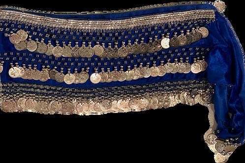Blue Silver Satin Belly Dance Belt