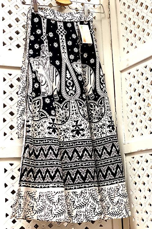 Black & White Elephant Wrap Skirt