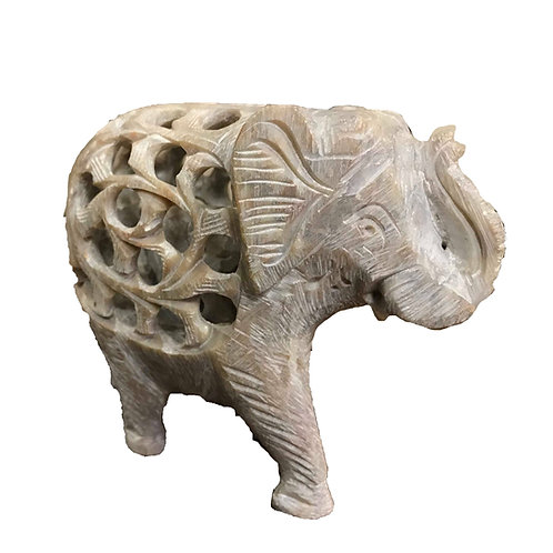 Grey Carved Elephant