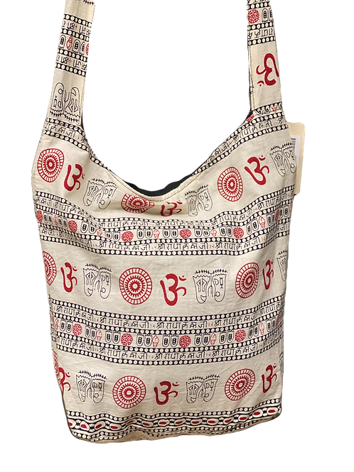 Red & White Om Crossbody bag