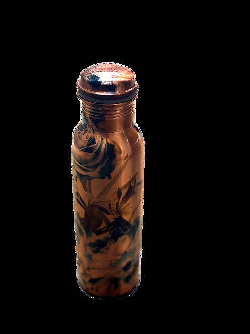 Black Rose Print Copper Bottle