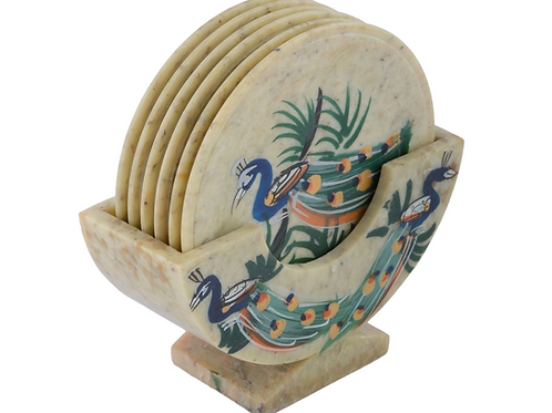 Håndlaget stein drikke coaster sett med vakker påfugltrykk