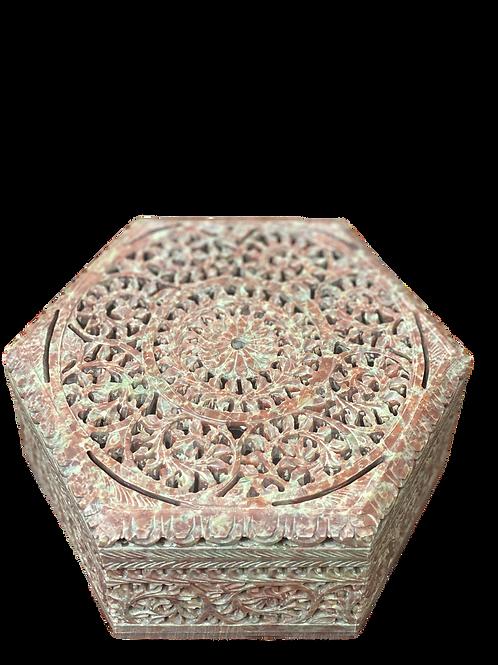Hexagon Box carved stone