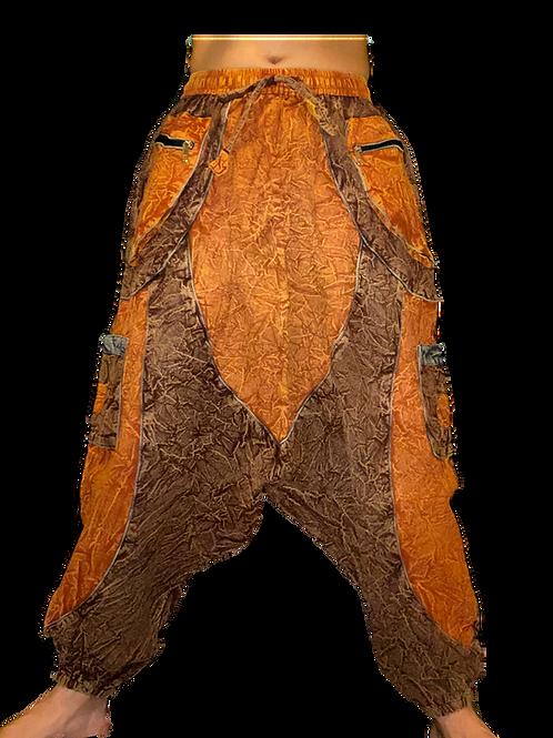 Brown Tone Stonewash Harem Trousers