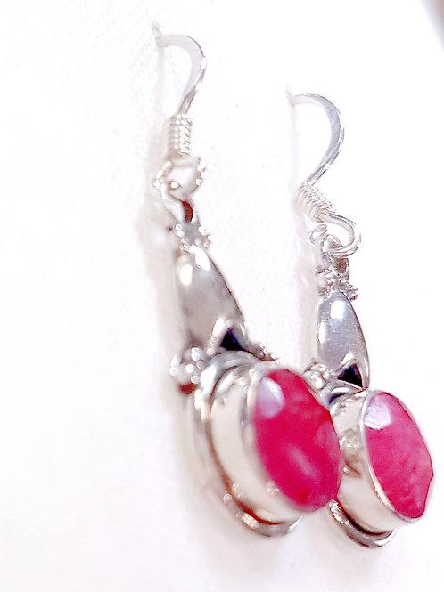 Semi Precious Ruby Stone Earrings