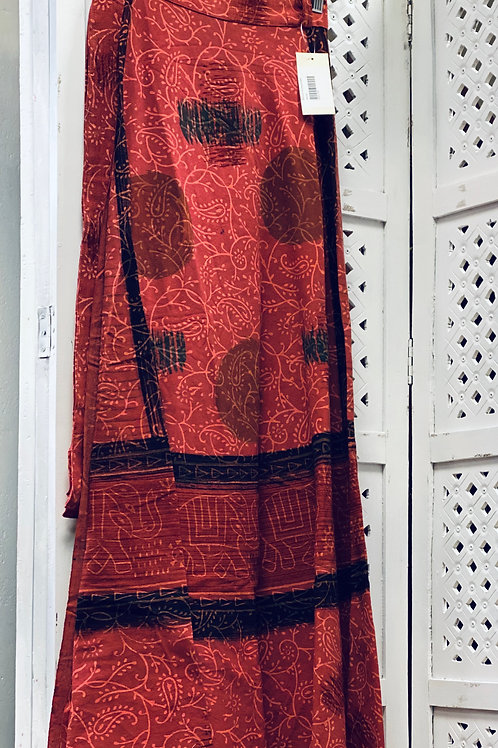 Red Long Cotton Wrap Skirt