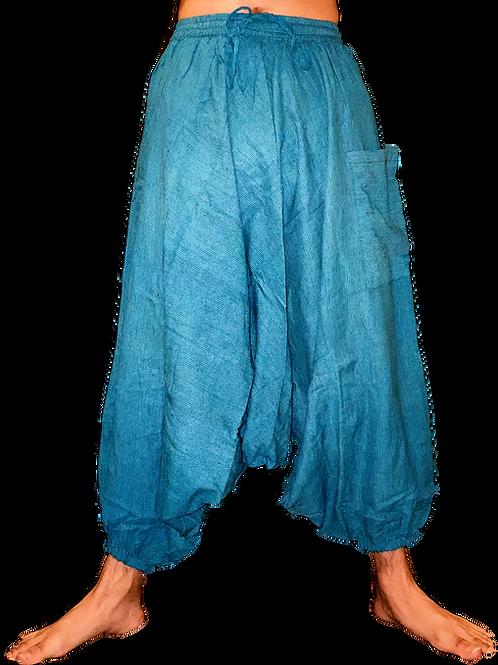 L-Blue + Black Striped Harem Pants