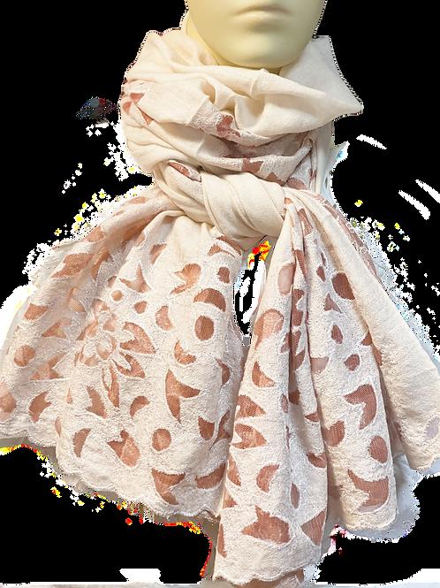 Kashmir Wool Pink Cut-Work Stole