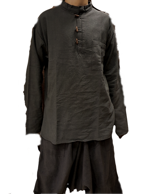 Comfy Black Cotton Linen Kurta