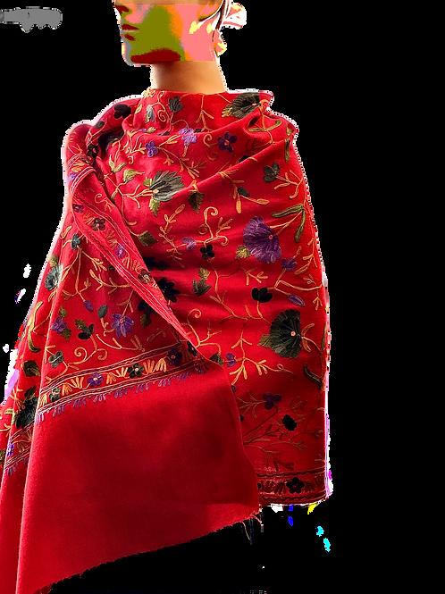 Bright Red Kashmir Pashmina