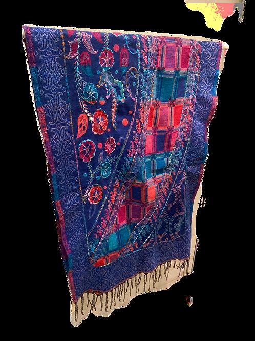 Purple-Blue Wool Scarf