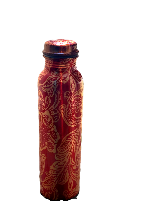 Red Flower Copper Bottle