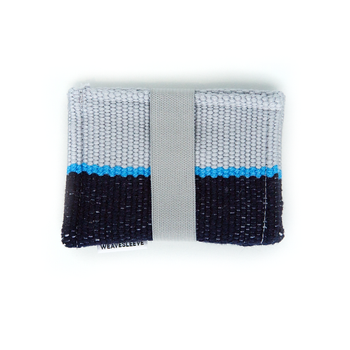 WeaveSleeve Gris y Azul Marino Two Pocket Wallet