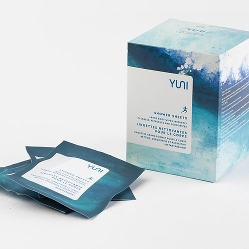 Shower Sheets - Natural Biodegradable Body Wipes (Box of 12) - YUNI
