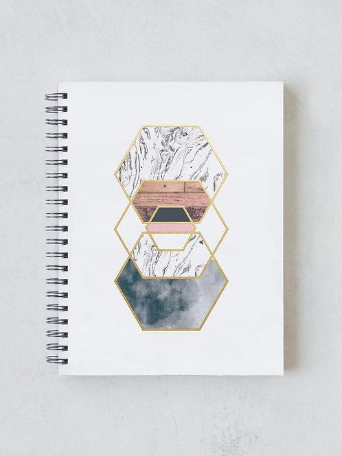 Denik Golden Hexes Spiral Notebook