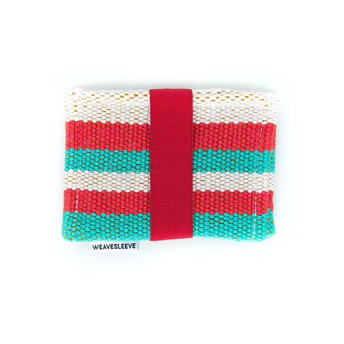 WeaveSleeve Rojo y Verde Azulado Two Pocket Wallet