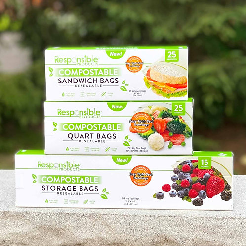 Compostable Bag Bundle Pack - Resealable Zip Compostable Storage Bags (3 Sizes)