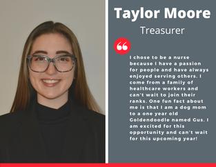 Treasurer, Taylor Moore