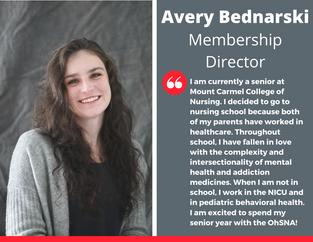 Membership Director, Avery Bednarski