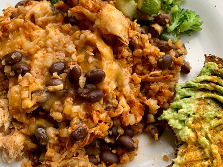 Healthy Low-Carb Chicken & Cauli-Rice Enchilada Bake