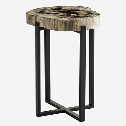 Andrew Martin Peter Disk Side Table with Petrified Wood Top