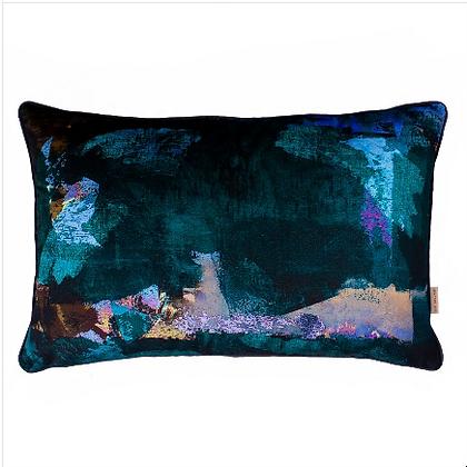 Susi Bellamy Midnight Scape Oblong Printed Velvet Cushion