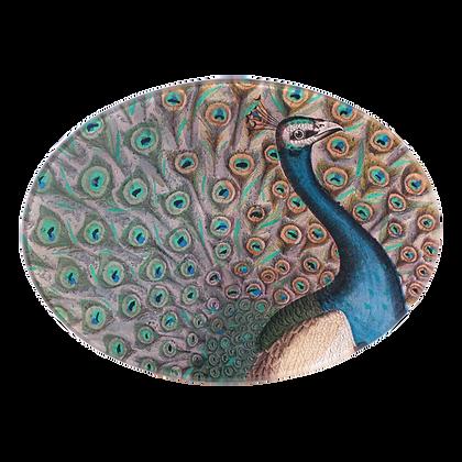 John Derian Peacock Flourish Decoupage Oval Dish