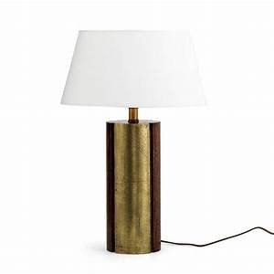 Flamant Large Wooden Table Lamp with Brass Fittings and Gold Detail