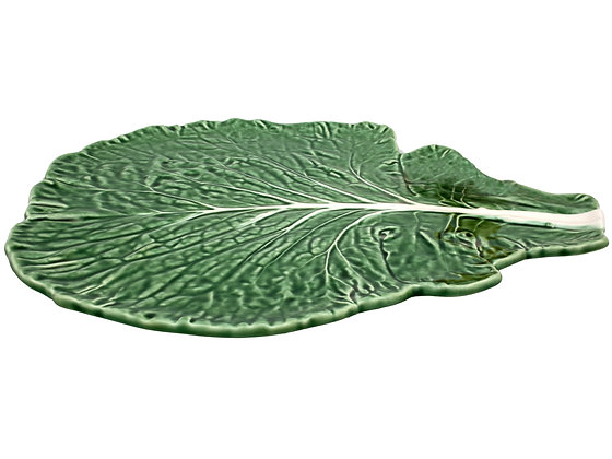 Bordallo Pinheiro Hand Painted Earthenware Cabbage Leaf Cheese Tray 39.5cm