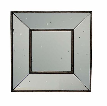Square Mirror with Antiqued Mirrored Frame