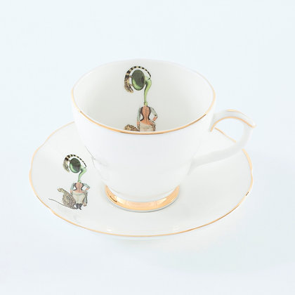 Ali Miller London Fine Bone China Band Lady Tea Cup and Sauce
