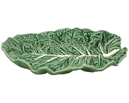 Bordallo Pinheiro Hand Painted Earthenware Cabbage Leaf Fruit Bowl 37cm