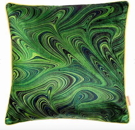 Susi Bellamy Malachite Marbled Printed Velvet Cushion