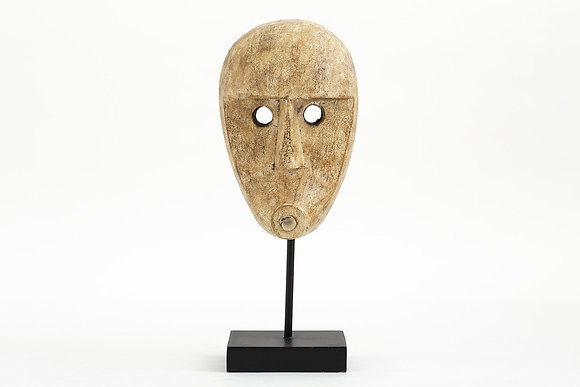 Flamant Lilli Decorative Carved Wooden  Mask on Stand