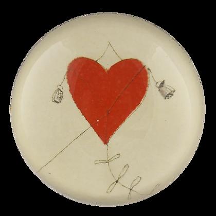 John Derian Red Heart Kite Domed Decoupage Paperweight