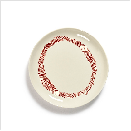 Feast by Ottolenghi Small Earthenware Red Swirls Plate