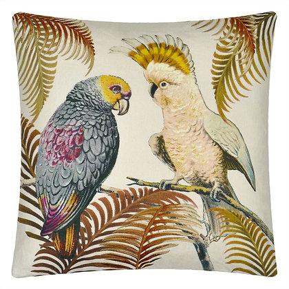 John Derian Parrot and Palm Parchment Linen Mix Cushion