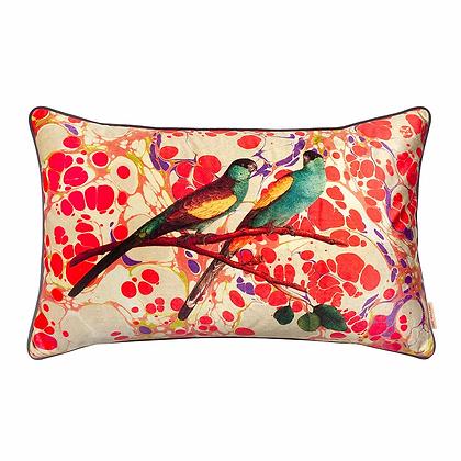 Susi Bellamy Marbled Love Birds Printed Velvet Cushion