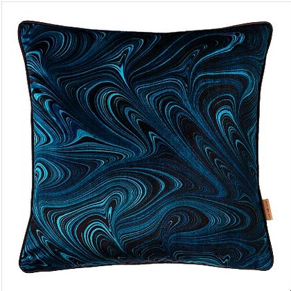 Susi Bellamy Cobalt Strata Printed Velvet Cushion