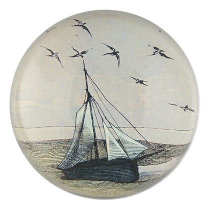 John Derian Ship with Gulls Decoupage Domed Paperweight