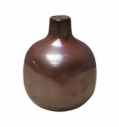 Small Bordeaux Ceramic Vase with Crackle Finish