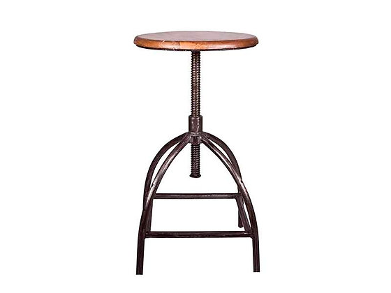 Broste Industrial Adjustable Metal Stool with Mango Wood Seat