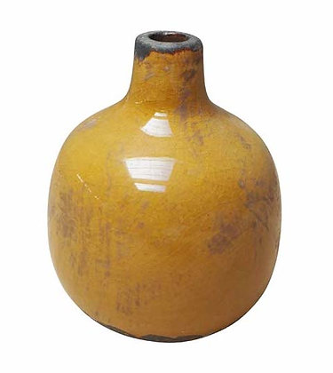 Small Mustard Ceramic Vase with Crackle Finish