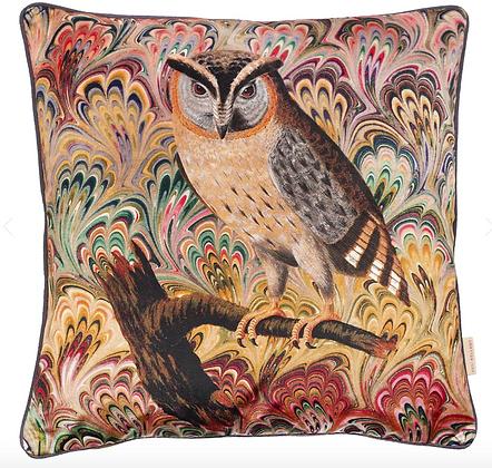 Susi Bellamy Scops Owl Printed Velvet Cushion
