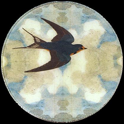 John Derian Swallow in Flight (Flying Right) Decoupage Round Plate
