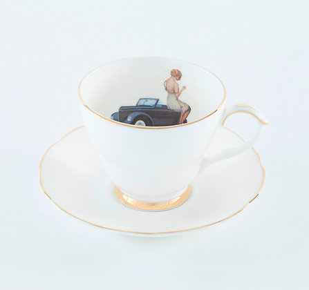 Ali Miller London Fine Bone China Always and Adventure Tea Cup and Saucer
