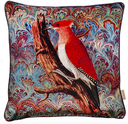 Susi Bellamy Woodpecker Collage Printed Velvet Cushion