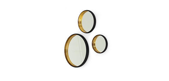 Set of 3 Flamant Black and Gold Metal Mirrors